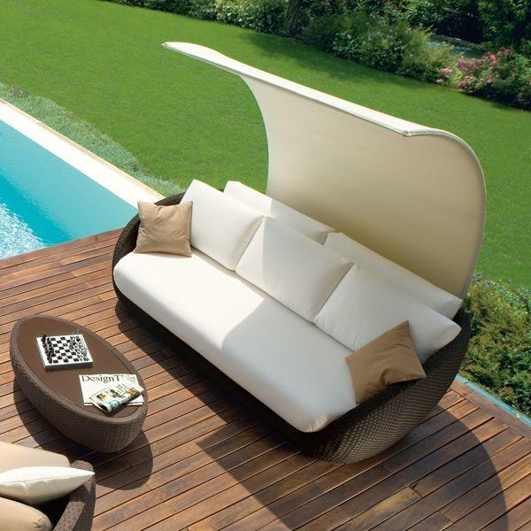Rattan lounge muschel  Rattan Lounge sofa überdachung roberti italien terrasse garten ...