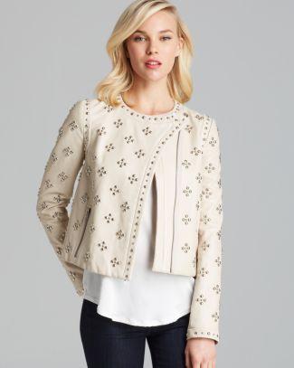 DIANE von FURSTENBERG - Cocoa Studded Leather Jacket -- love this!