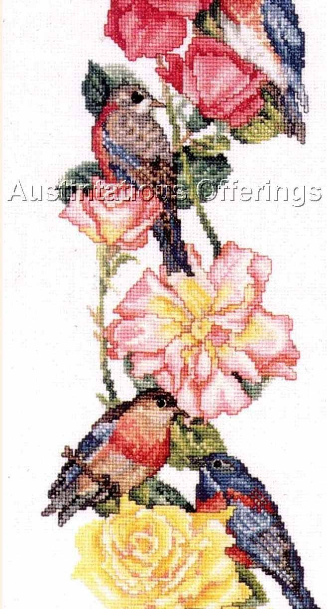 Rare Giampa Bluebirds Summer Roses Cross Stitch Kit Finches Bird