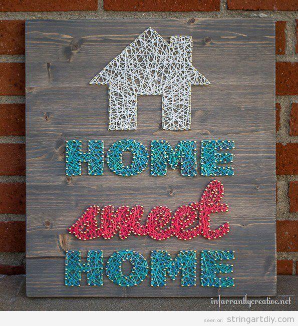 string art home sweet home tutorial tableau clous ficelle pinterest tableau clou ficelle. Black Bedroom Furniture Sets. Home Design Ideas