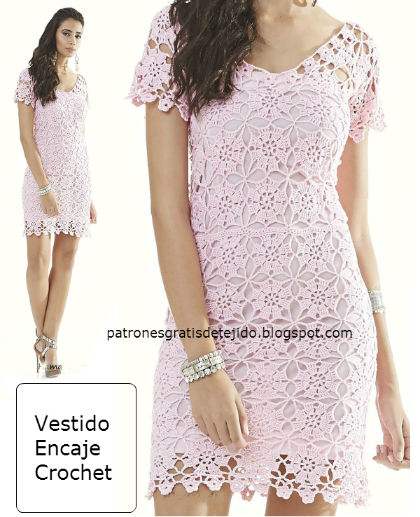 e08e9305c Delicado diseño para este vestido de encaje tejido con ganchillo. En ...