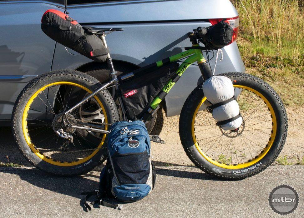 bike setup 2 everything bags handlebar roll frame bag seat pack - Mountain Bike Frame Bag