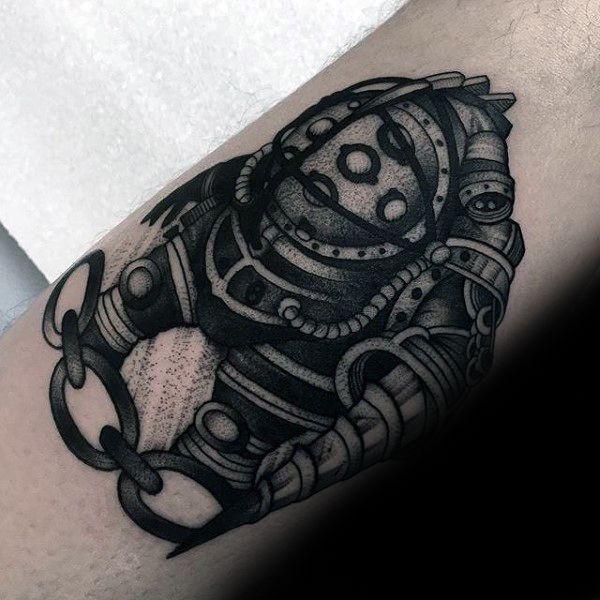 old school mens black and grey shaded bioshock chain tattoo geek pinterest bioshock. Black Bedroom Furniture Sets. Home Design Ideas