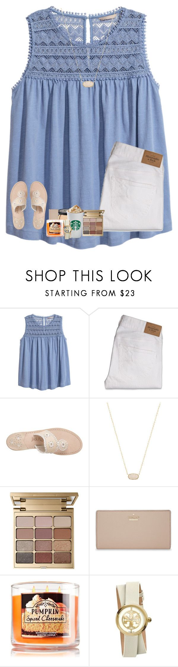"""kinda for fall¿"" by rileykleiin ❤ liked on Polyvore featuring H&M, Abercrombie & Fitch, Jack Rogers, Kendra Scott, Stila, Too Faced Cosmetics, Kate Spade and Tory Burch"