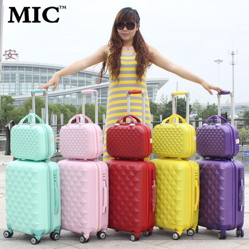 20 24 inch women candy color universal wheels rolling hard shell ...