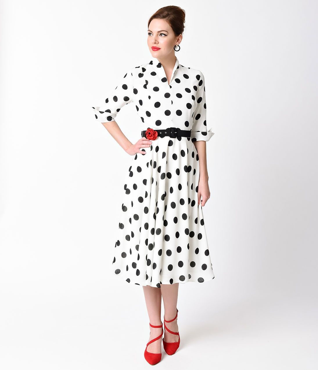 a7e0729615 1940s White Black Dotted Sleeved Hudson Shirt Dress $98.00 AT  vintagedancer.com