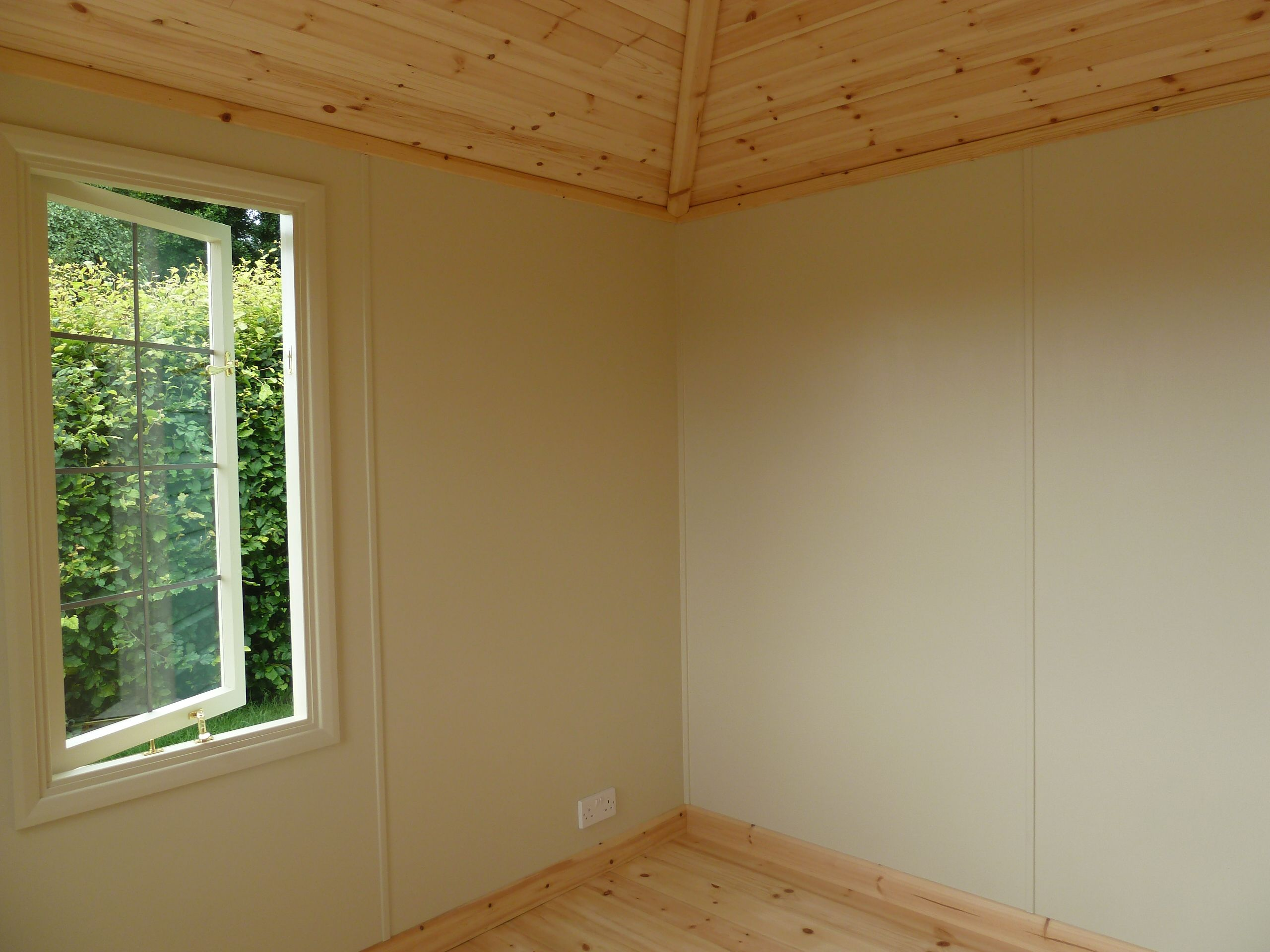 Summerhouse interior lined in painted ply and pine tgv. The Handmade ...