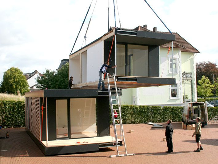 neues wohnen im cubig designhaus minihaus h user in 2019 micro haus minihaus und haus. Black Bedroom Furniture Sets. Home Design Ideas