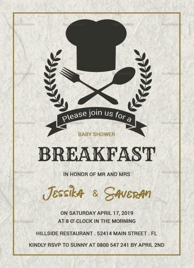 baby shower breakfast invitation template invitation card