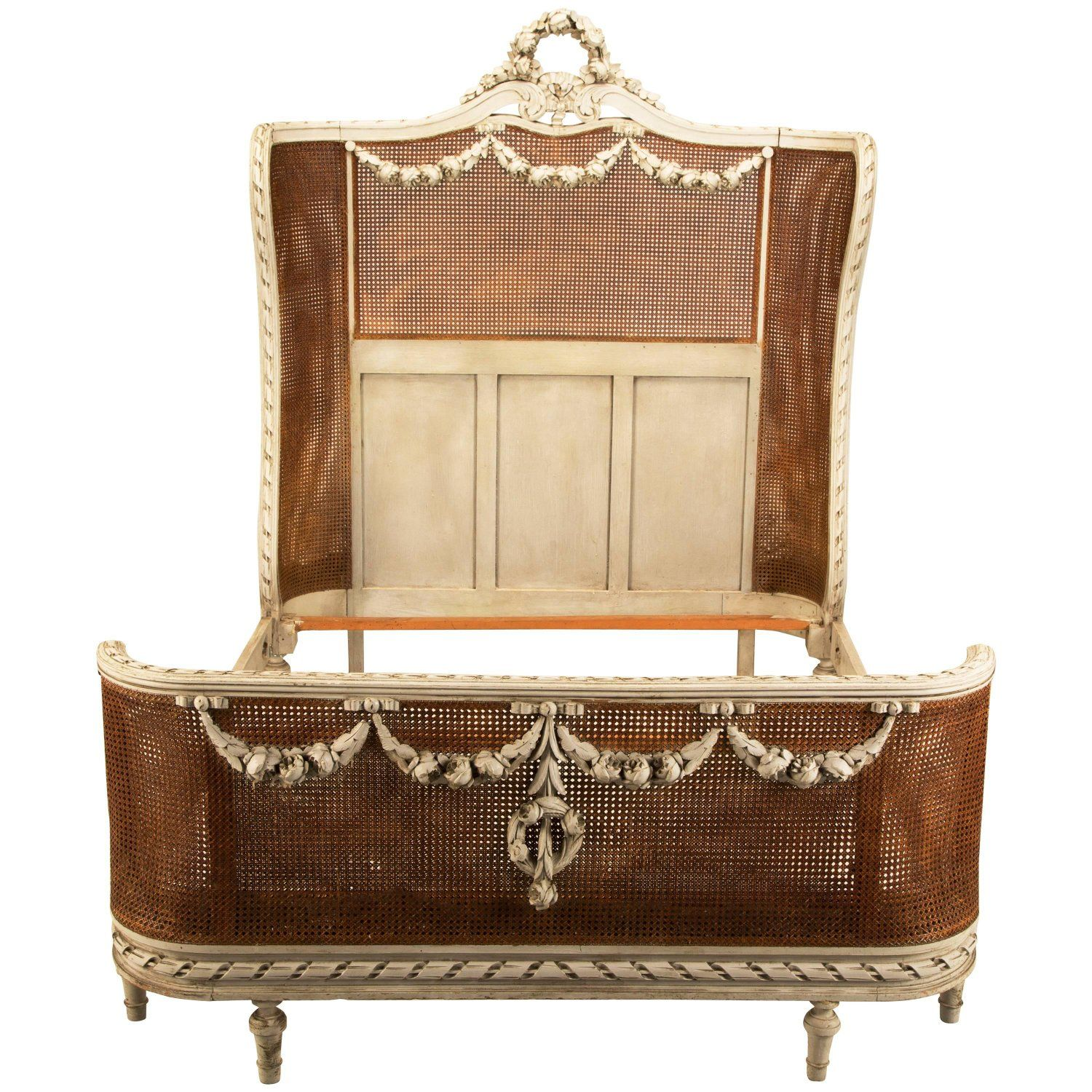 French Louis XVI Style Antique Original Paint and Cane Bed