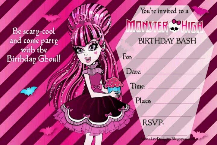 Draculaura Invite Monster High Pinterest Monster High