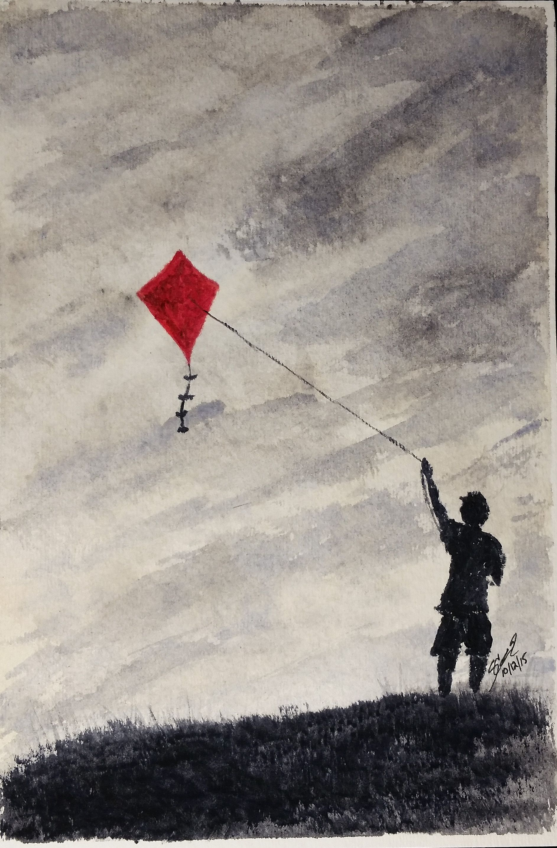 Go Fly A Kite Watercolor 6x9 Go Fly A Kite Fly Drawing