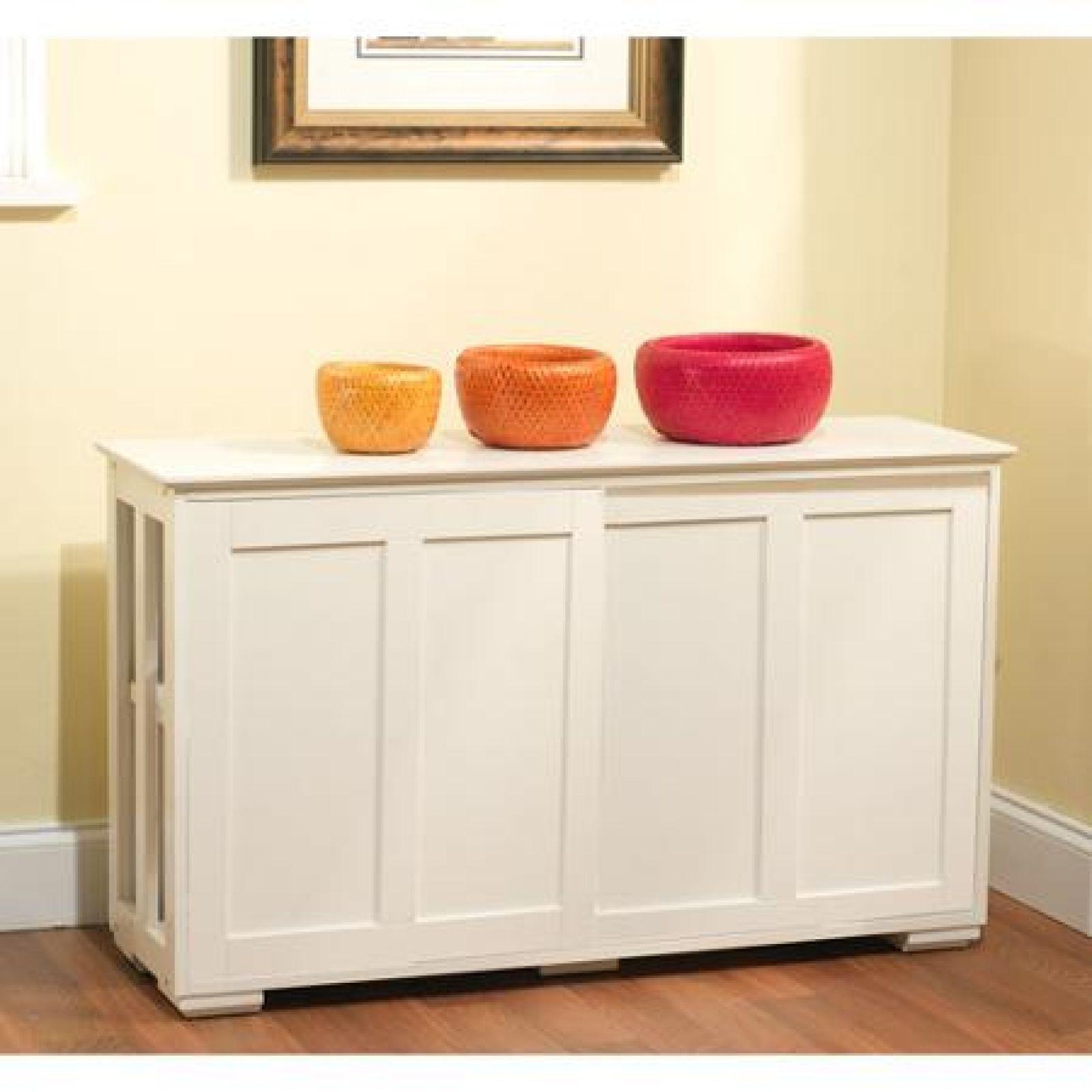 White Kitchen Storage Cabinet Stackable Sliding Door Wood Organizer ...