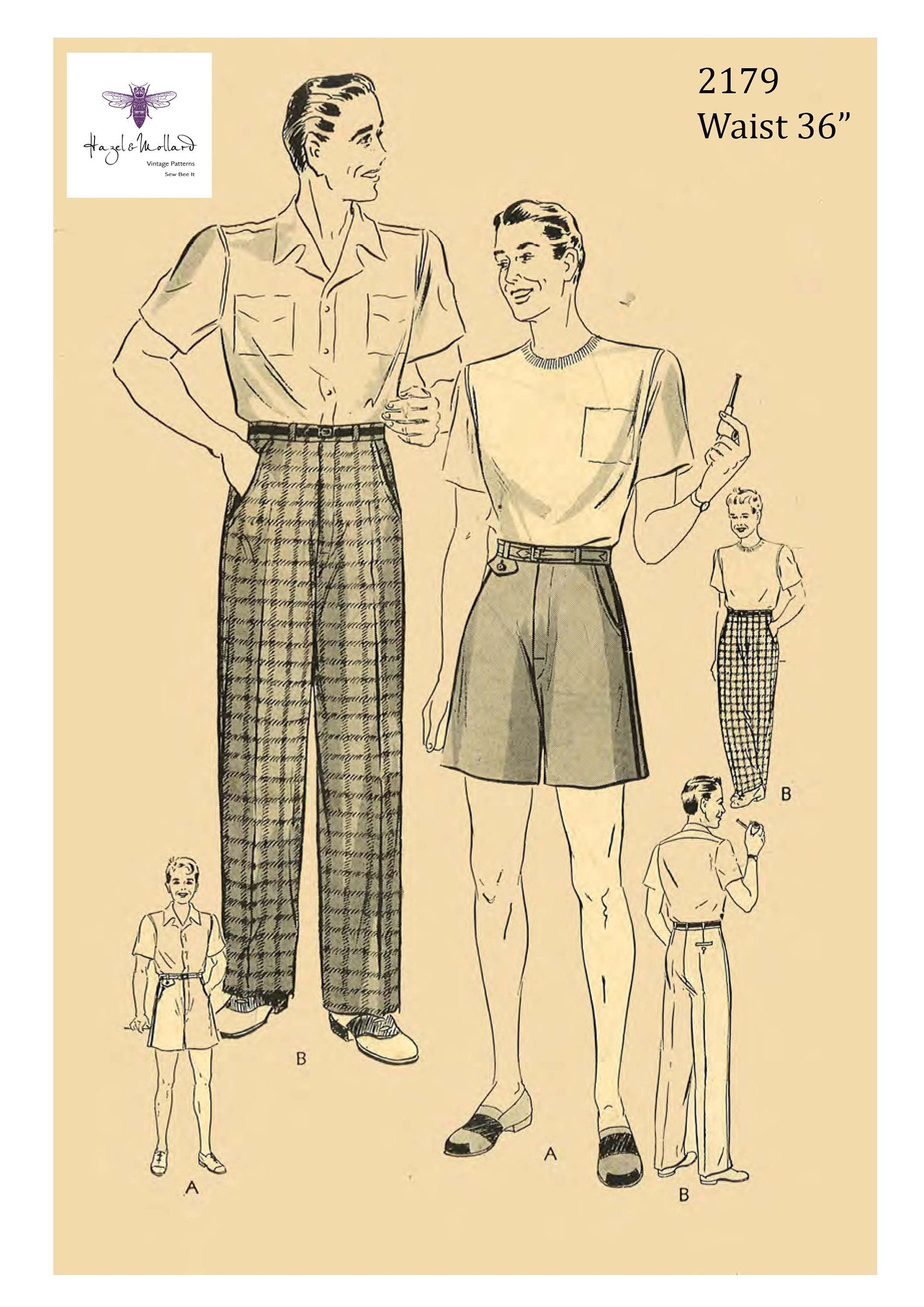 "Vintage 1940/'s Sewing Pattern Men/'s Jockey Shorts Boxer Shorts W 30/"" WWII"
