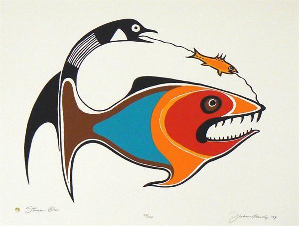Jackson Beardy Painting Sturgeon Clan Ojibwe Kk Indigenous Art