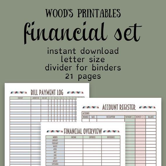 Financial Planner PDF Printable Bill Tracker By