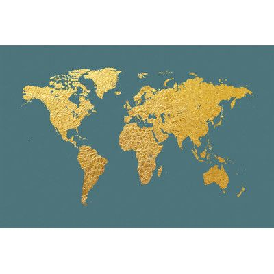 East urban home world map series gold foil on ocean blue by michael east urban home world map series gold foil on ocean blue by michael tompsett graphic gumiabroncs Images