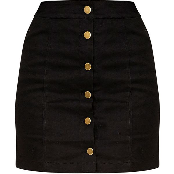 Cammie Black Denim Mini Skirt ($32) ❤ liked on Polyvore featuring ...
