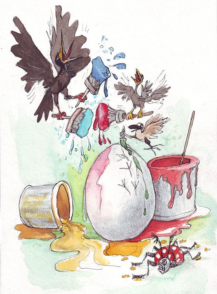 """""""Osterkritzel-Ei"""" Original Farbstiftzeichnung mit Aquarellt Erhältlich nur als Bezahl-download-Datei bei catooh. Erreichbar über meine homepage http://www.gucksachen.magix.net/"""