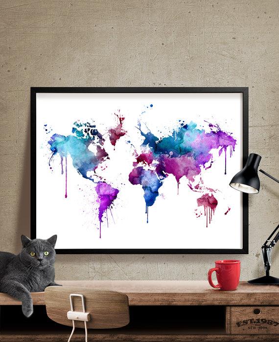 World map large wall art world map art print art painting wall world map large wall art world map art print art by fineartcenter gumiabroncs Gallery