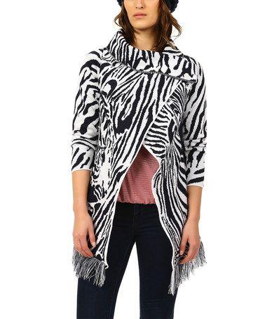 This Dark Blue & White Zebra Fringe-Trim Wrap Cardigan is perfect! #zulilyfinds
