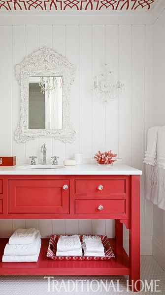 Remodelaholic 25 Inspiring And Colorful Bathroom Vanities Bathroom Color Schemes Bathroom Red Home Decor