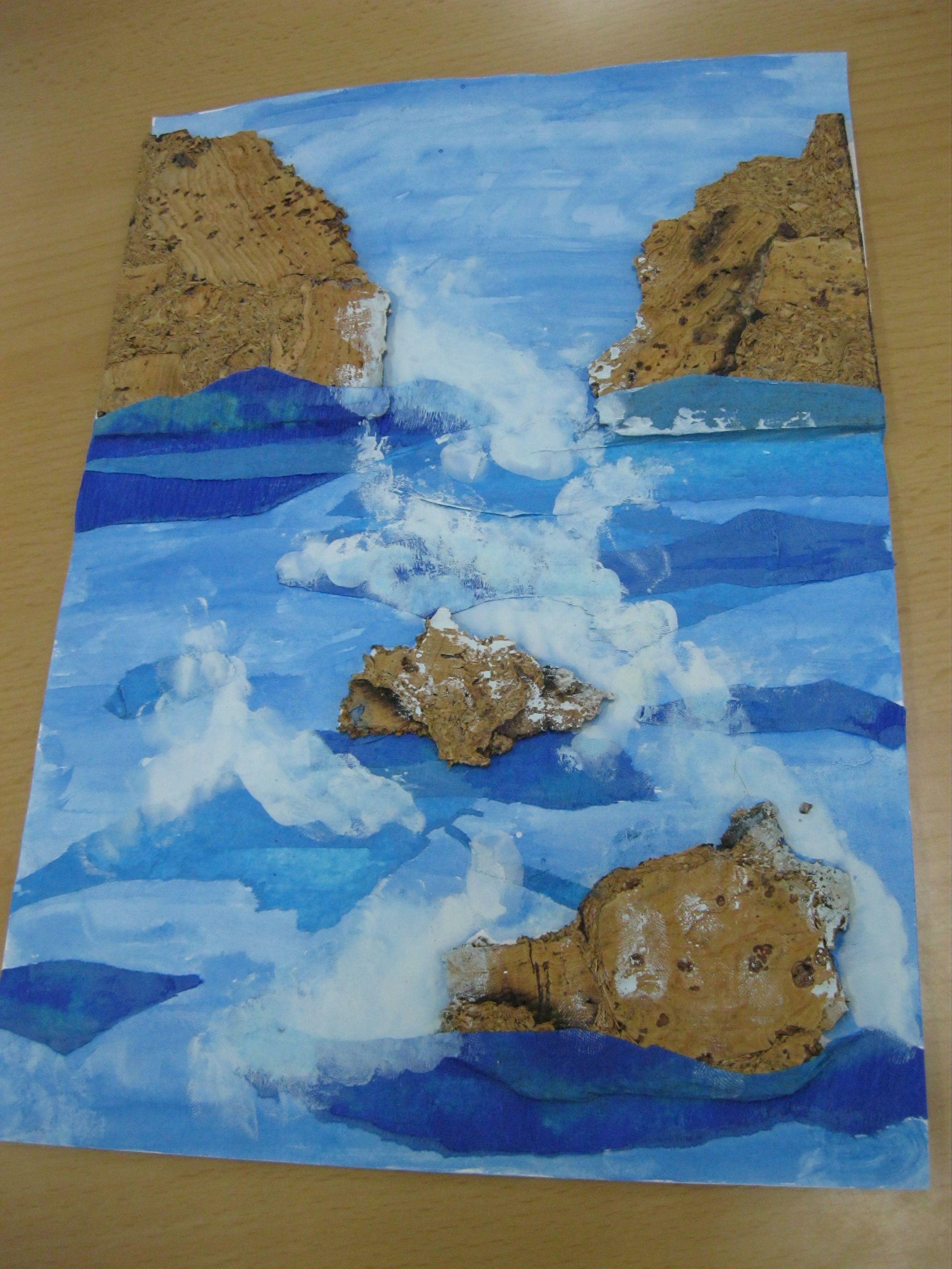 La costa Brava: paisaje-col·lage de corcho y acuarela. Tutorial y ...