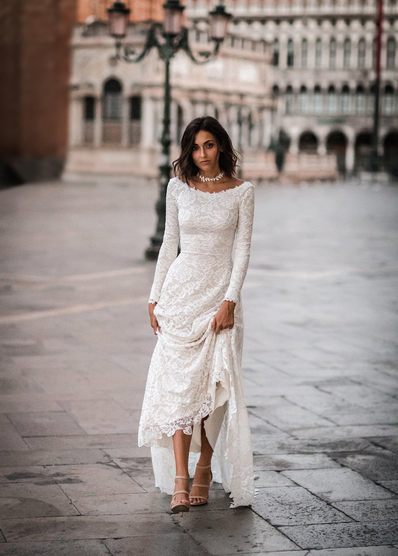 Boho wedding dress boat neck wedding dress scoop back