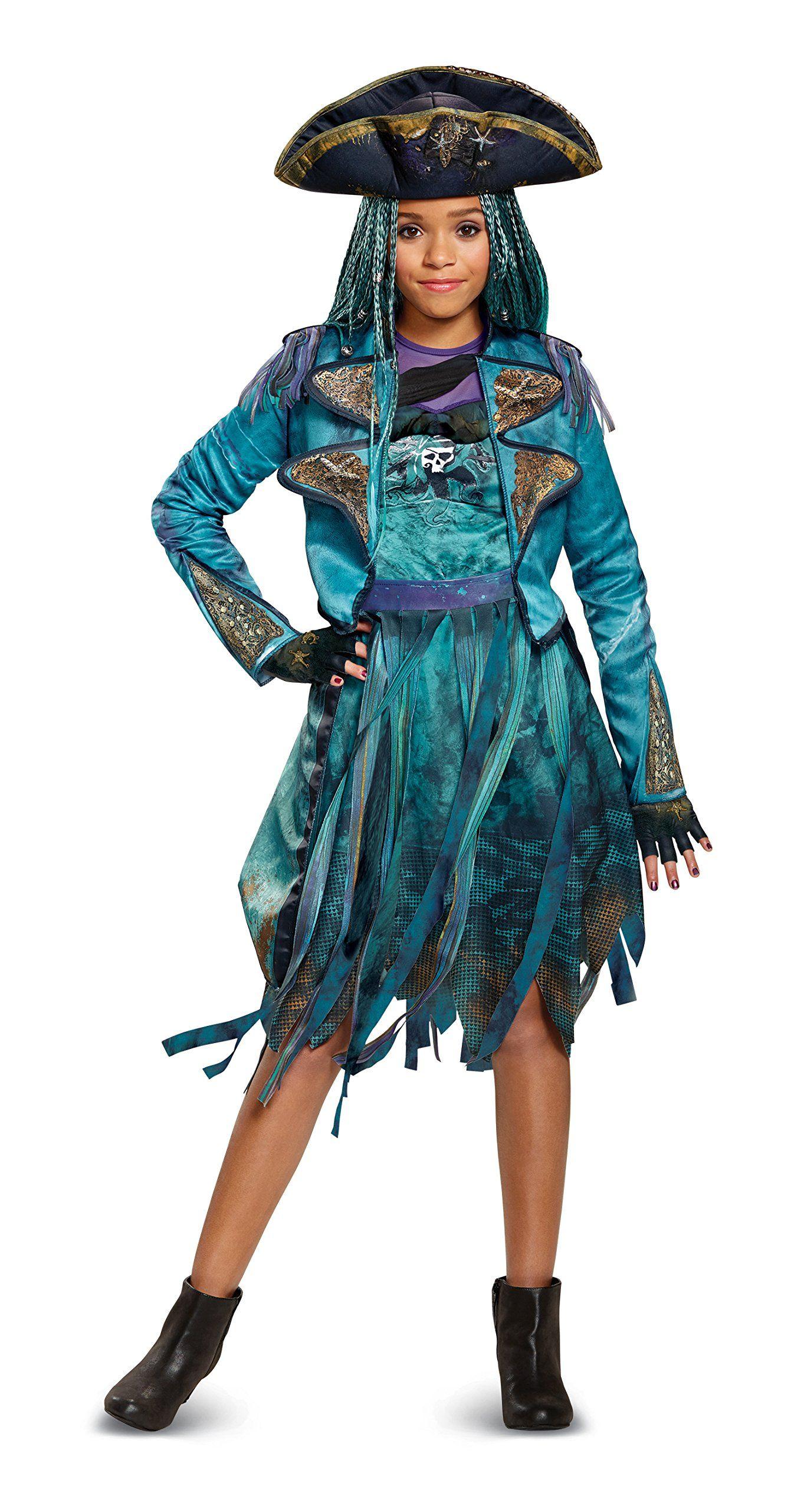 Disney Uma Deluxe Descendants 2 Costume Teal Medium 78 Have A Look At This Fantastic Product This Is An Affi Vestidos Incriveis Vestidos Fantasia Da Disney