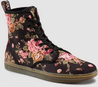 Dr Martens Shoreditch 7 Eye Boot Black Victorian Flowers $75 http://www.wildfree.com/prods/dmr14317001.html #drmartens #floralboot#victorian #victorianfloral #boot #drmartensboot