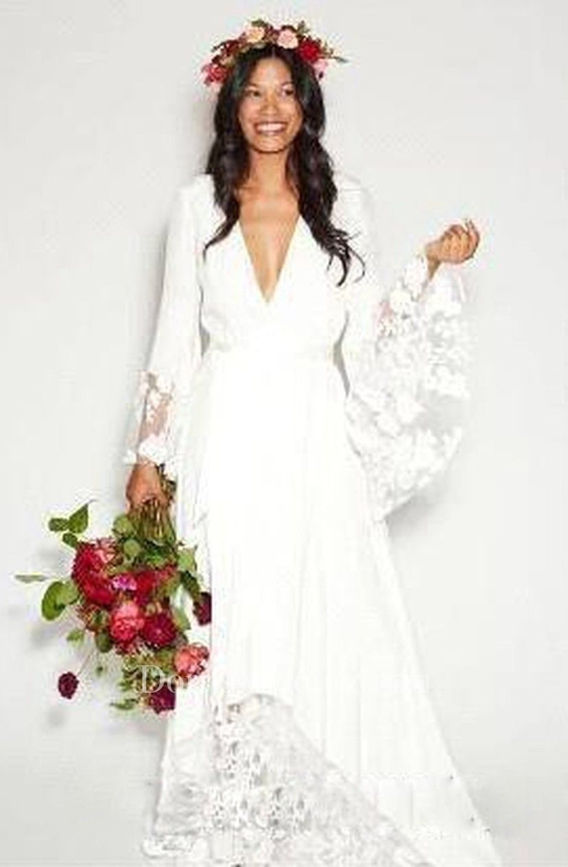 Simple bohemian long sleeves deep v neck hippie beach wedding gown
