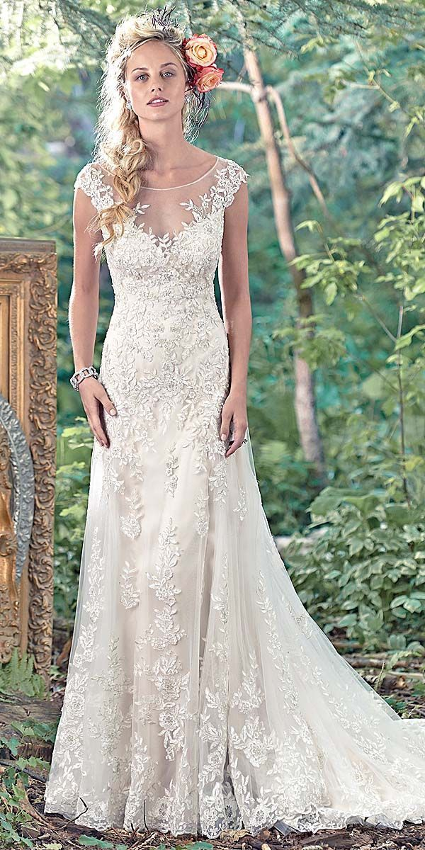 Maggie Sottero Vintage Lace Wedding Dress Wearing White
