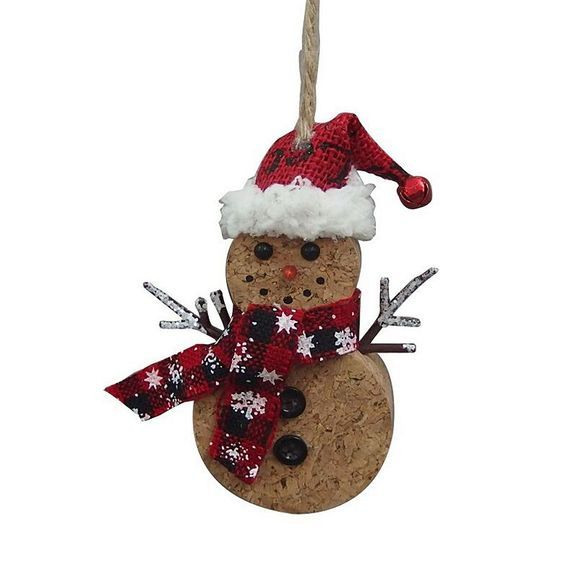 St Nicholas Square® Snowman Cork Christmas Ornament, Multicolor