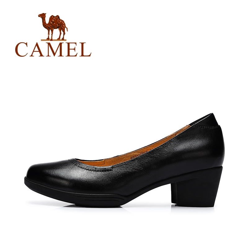 69.00$  Buy here - http://alirjb.worldwells.pw/go.php?t=32703458135 - Camel women's shoes 2016 new autumn genuine leather shoes soft comfortable mid heel pumps female slip-on A63195608