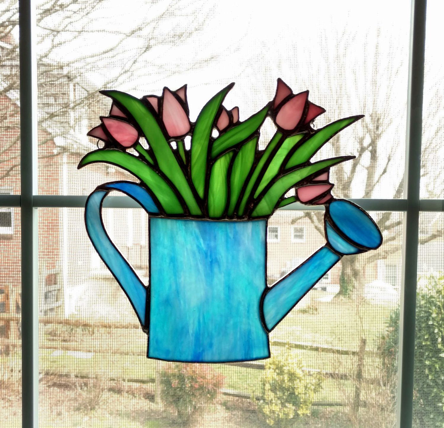 Stained Glass Tulips in Watering Can Suncatcher - Gardener Gift ...