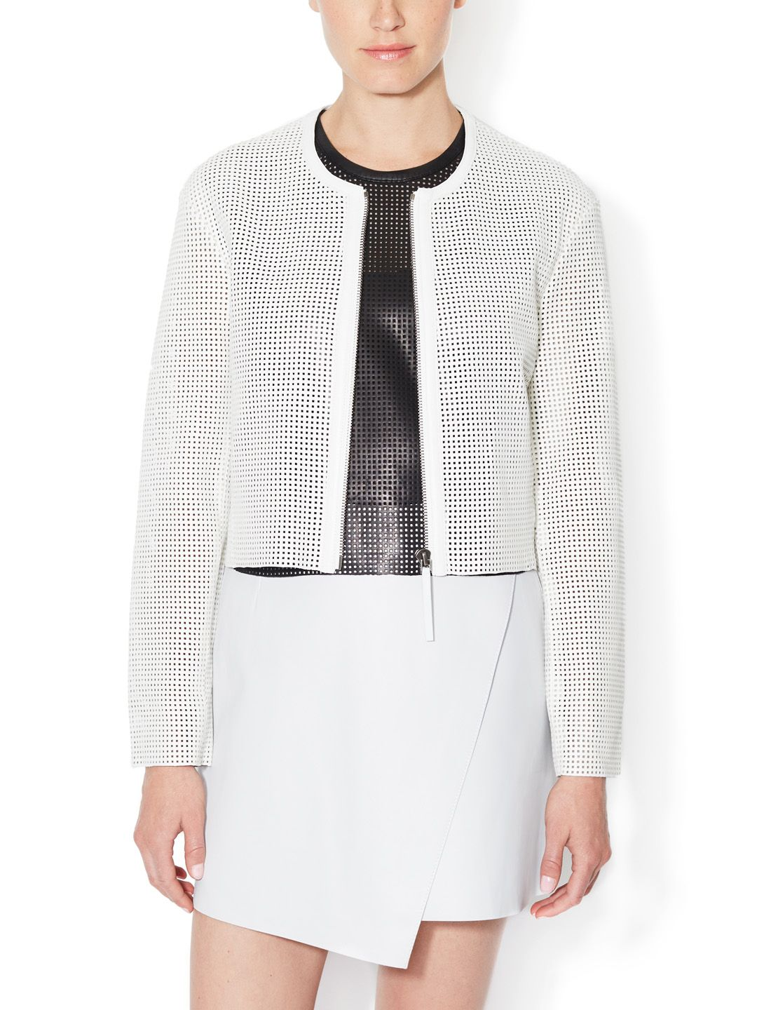 Helmut Lang Perforated Leather Collarless Jacket