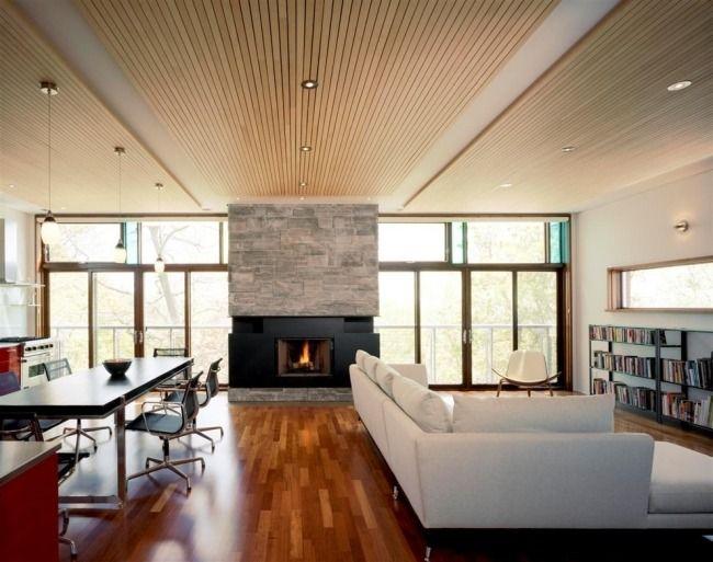 Wohnzimmer Paneele, holzdecke paneele einbauleuchten wohnzimmer kamin | wohnzimmer, Design ideen
