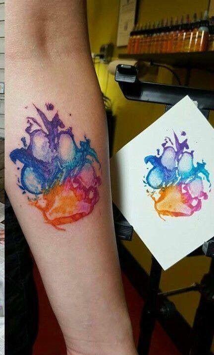 Paw Print Watercolor Tattoo Paw Tattoo Dog Print Tattoo Dog