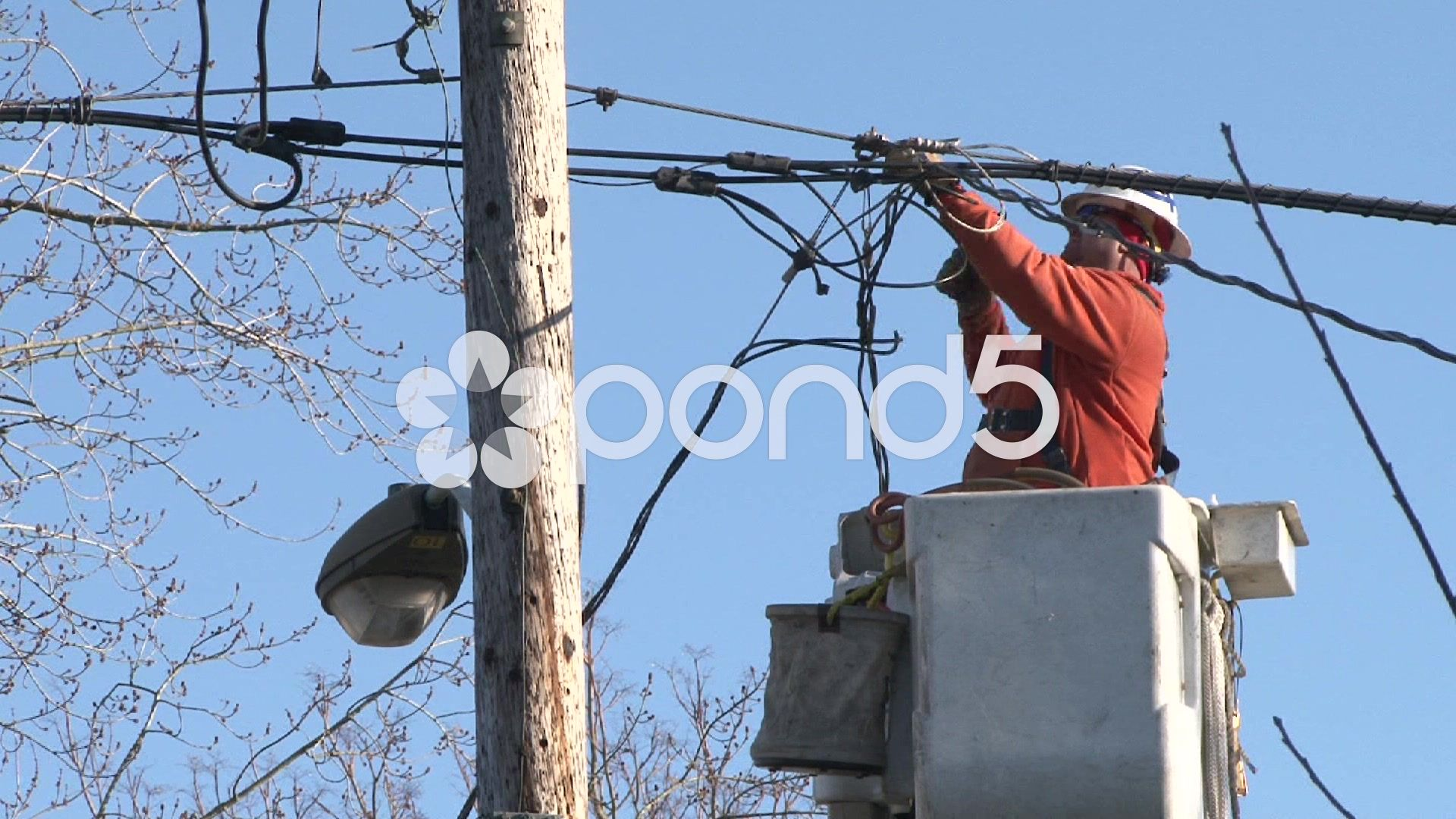 Electrician Working On Power Lines Stock Footage,Power