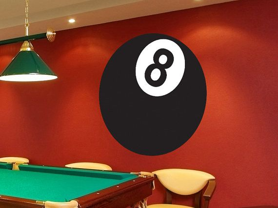 eight ball game room vinyl wall decalwalljems. | dinner in 2019