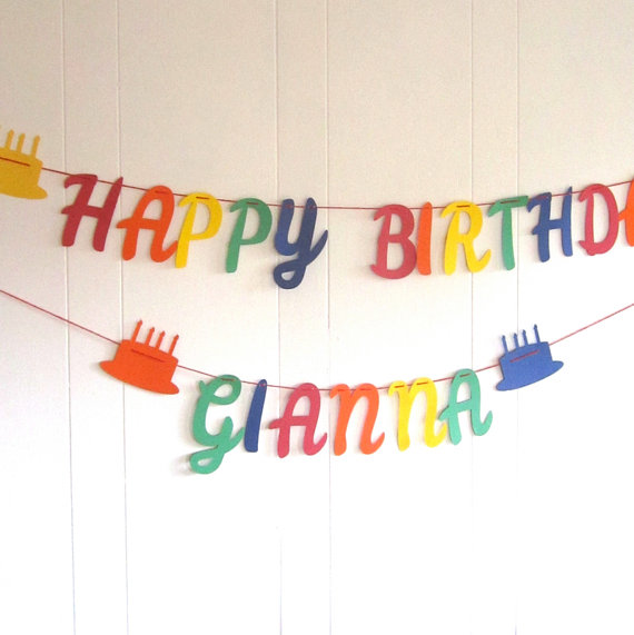 happy birthday banner with first name primary colors rainbow