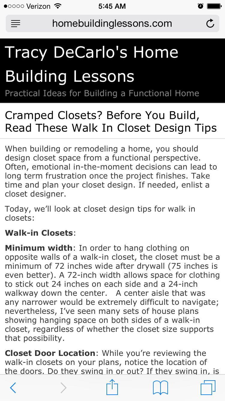Great Article On WalkIn Closet Space Requirements And Dimensions