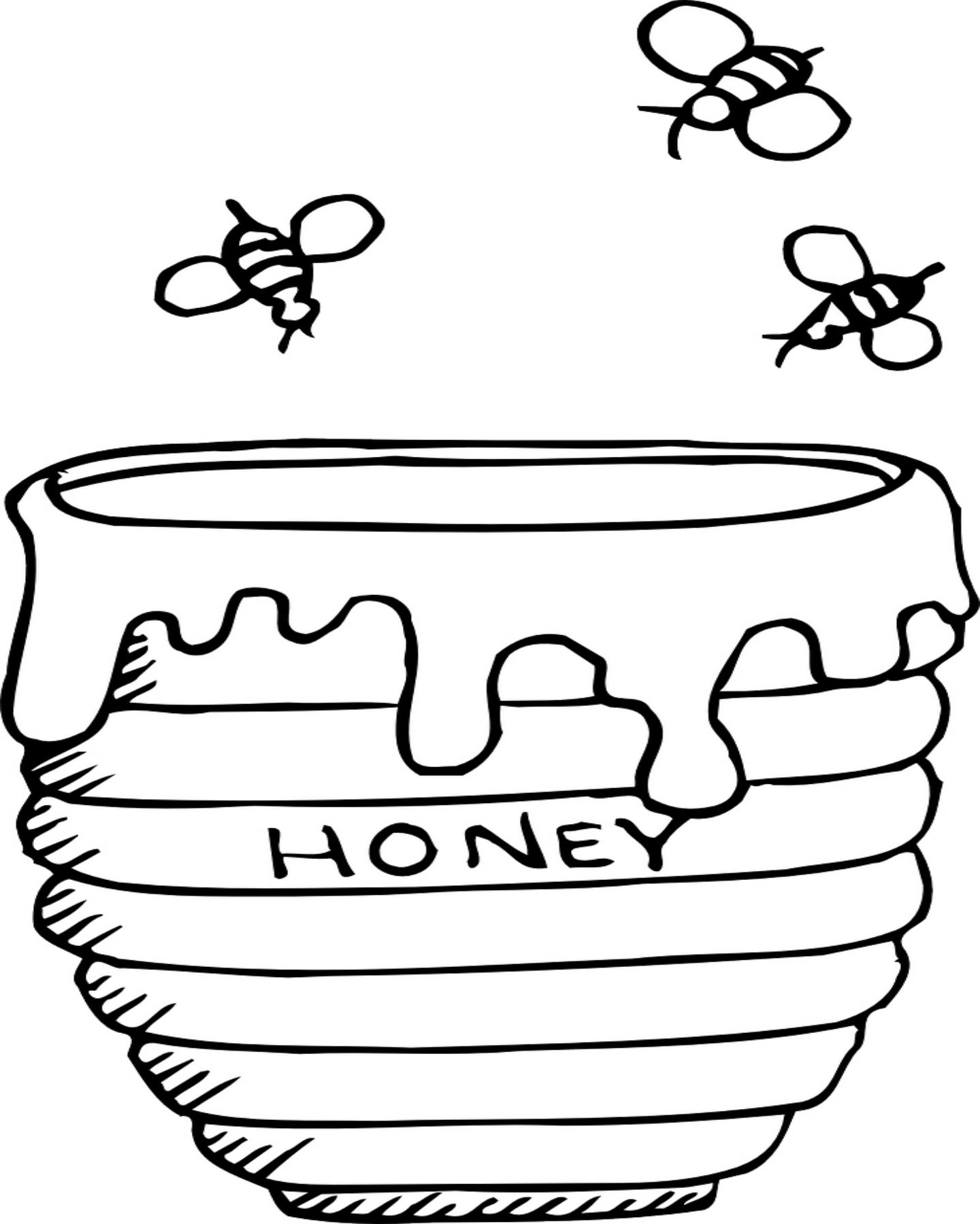 Bees Buzzing Around A Honey Pot Coloring Page Bee Coloring Pages Honey Jar Bee Drawing