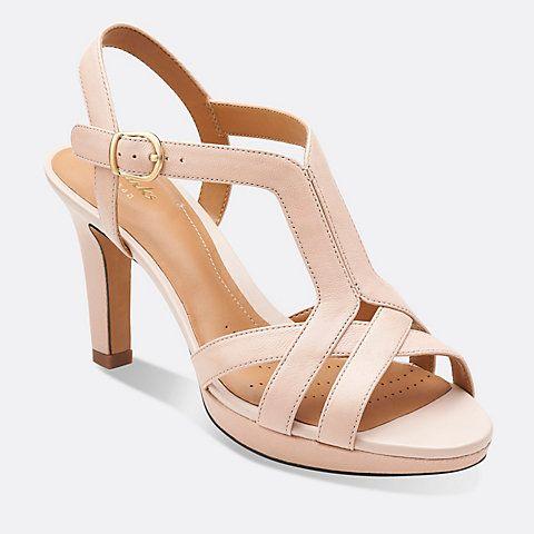 Delsie Risa Black Leather - Womens Medium Width Shoes - Clarks
