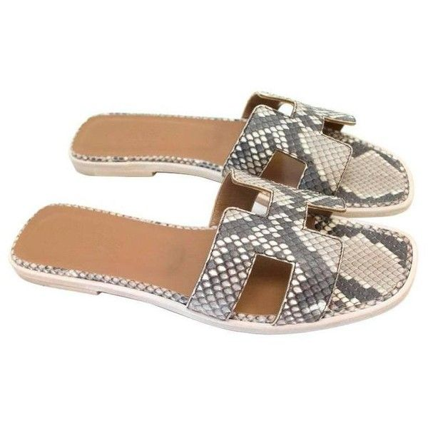 2d3f14e6eacbe6 Preowned Hermes  oran  Grey Python Skin Sandals With Brown Leather... (