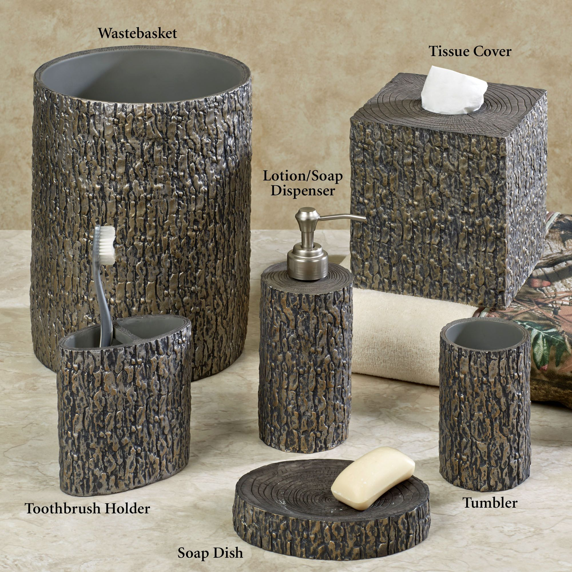 Tree Bark Rustic Bath Accessories | Silver bathroom ...
