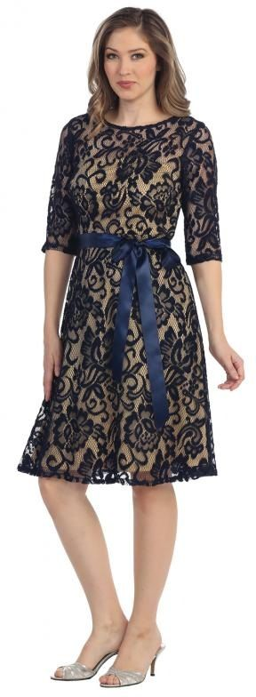 Lace Black Overlay 3/4 Sleeves Knee-Length Formal Dress #lace #formaldress