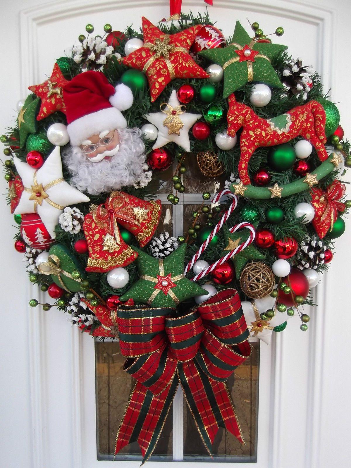 t rkranz weihnachten weihnachtskranz rot gr n wei tilda. Black Bedroom Furniture Sets. Home Design Ideas
