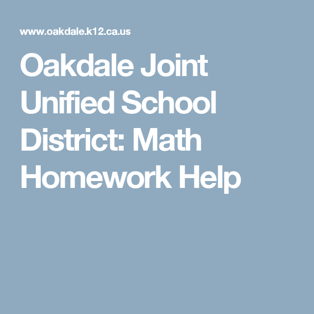 Oakdale city schools math homework help
