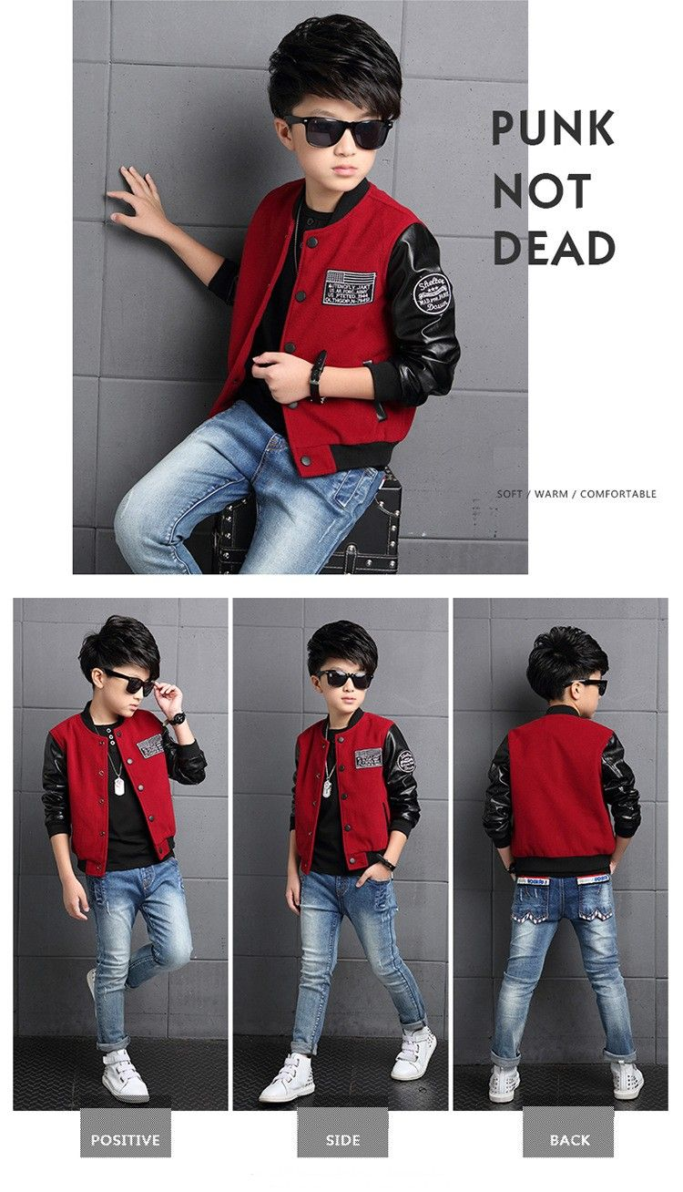 34599bd9558b Boys Coat Polyester Faux Leather Casual Children Hoodies Brand ...